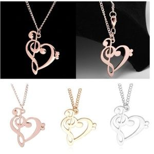 Musical Note Heart Necklace